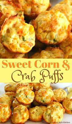 Sweet Corn And Crab Puffs Seafood Appetizers Seafood Appetizers Appetizers Appetizers for a crowd Appetizers parties Crab Appetizer, Seafood Appetizers, Finger Food Appetizers, Finger Foods, Appetizer Recipes, Dinner Recipes, Appetizer Dessert, Heavy Appetizers, Seafood Bake