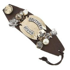 Southern Grown Wide Leather Charm Bracelet - The Whimsical Owl