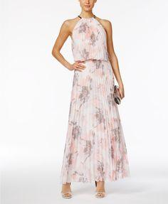 MSK Pleated Floral-Print A-Line Gown   macys.com