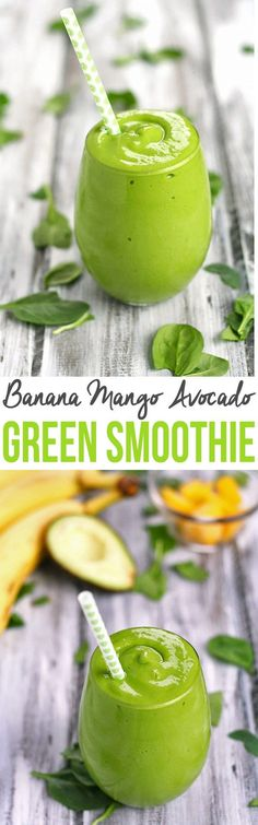 Banana Mango Avocado Green Smoothie (Its Green Which Usually Means Its Healthy)- What better way to start eating healthier than with a green smoothie? This Banana Mango Avocado Green Smoothie is simple creamy and refreshing! Smoothie Legume, Smoothies Vegan, Green Smoothie Recipes, Breakfast Smoothies, Smoothie Drinks, Avocado Smoothie, Green Smoothies, Detox Drinks, Smoothies With Avacado