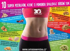 30ti denní výzva - 10 super-potravin, které ti pomohou spalovat břišní tuk Detox, Gym Shorts Womens, Health Fitness, Workout, How To Plan, Food, Smoothie, Weights, Work Out