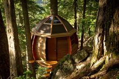 WHISTLER, BRITISH COLUMBIA :: A hidden gem amid towering hemlock trees in the ski village of Whistler, British Columbia, this tree house is a sight to be seen—for those who can find it, that is. Carpenter Joel Allen built the structure in a secret location and welcomes anyone who spots it to check out the inside. If you're among the lucky ones to enter, be sure to sign the guest book with the story of your journey there.
