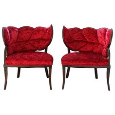 French Art Deco carved mahogany Leaf Boudoir chairs with crushed red velvet upholstery