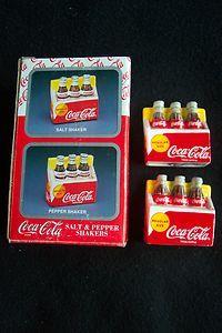 c1990s COCA COLA SALT & PEPPER SHAKERS BOXED