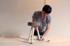 Ben Uyeda Adding Washers and Caps to Stool Legs, Remodelista