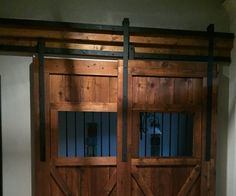 "My wife wanted something ""simple"" that we could use to close off our dining room from the babies' nursery next to it, so she decided it would be a good idea to build some barn doors to close it off. She got a few ideas from Pinterest, but I couldn't find any that showed how to build overlapping doors, so I had to use some ingenuity to figure out how to build them."
