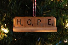 Put all that Scrabble practice to good use — in the form of an ornament that spells your favorite seasonal word. Hold letters together with a small stand, or hang them individually but close together.   Source: Etsy user shopallthings