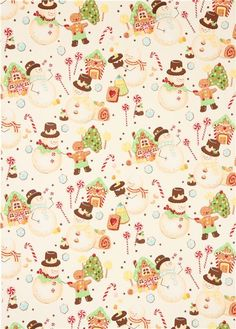 Christmas fabric 'Candyland Snowmen' with gingerbread man, gingerbread house etc. Christmas Fabric, Christmas Quotes, Christmas Pictures, Christmas Snowman, Christmas Time, Vintage Christmas, Christmas Wreaths, Christmas Crafts, Illustration Noel