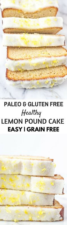 Lemon Pound Cake makes a beautiful addition to brunch or breakfast. This recipe is easy to make with only one bowl and also makes a great dessert too! This recipe is always a hit - winter spring summer or fall. Gluten Free Pound Cake, Pound Cake Recipes, Gluten Free Cakes, Gluten Free Desserts, Healthy Bread Recipes, Paleo Bread, Paleo Baking, Low Carb Recipes, Paleo Diet