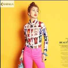 High quality2017women spring summer runway fashion blouse single breasted buttons full sleeve wine glass prints blouse top D0713