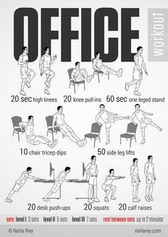 For every 20 minutes of sitting at your desk, get up & pace for 1-5 minutes. Frequent movement boosts concentration & raises your metabolic rate.: Office Yoga, Office Exercise, The Office, Office Workouts, Sport Fitness, Fitness Tips, Fitness Motivation, Health Fitness, Exercise Motivation
