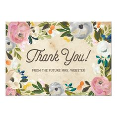 Vintage Wedding Thank You Cards Vintage Florals | Bridal Shower Flat Thank You Card