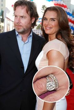 With this Neil Lane antique platinum and gold engagement ring, no wonder Brooke Shields has been happily married to Chris Henchy for over a decade. Celebrity Wedding Rings, Celebrity Jewelry, Celebrity Weddings, Celebrity Couples, Cute Engagement Rings, Wedding Engagement, Wedding Bands, Solitaire Engagement, Wedding Cake