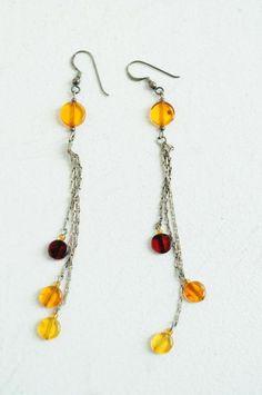 Amber & silver drop earrings, handmade at Firedrake Jewellery & Antiques.