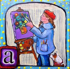 """Day in 30 challenge! """"A is for Artist"""" collage and mixed media 30 Challenge, Sally, Dean, Alphabet, Collage, Challenges, Lettering, Artist, Painting"""