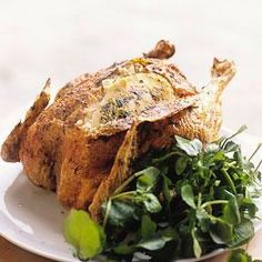 Famous recipe for delicious tarragon + garlic stuffed chicken, from Riverford.