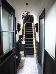 Monochrome Hallway Makeover Reveal - Raspberry Flavoured Windows - Stunning Monochrome Hallway Reveal with gold leaf gilded stairs The Effective Pictures We Offer You - Black And White Hallway, Black Stairs, Black Painted Stairs, Narrow Hallway Decorating, Hallway Ideas Entrance Narrow, Narrow Hallways, Modern Staircase, Staircase Design, Modern Hallway