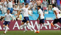 England got their opening goal inside nine minutes as John Stones found space inside the area to head in from 12 yards out England National Football Team, England Football, National Football Teams, John Stones, Gareth Southgate, Harry Kane, World Cup 2018, Panama, Yards