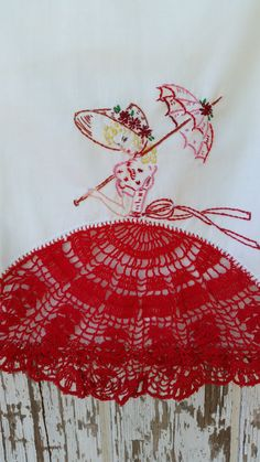 Pair of Queen Size Vintage Hand Embroidered Southern Belle Pillowcases