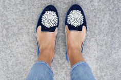 Blue and white suede flats