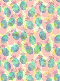 Pineapple Party Art Print by SchatziBrown #pineapple #pattern #tropical