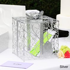 @Overstock.com - Reception Gift Card Holders - Create a standout look on your table setting with this best-selling wedding card holder. Made for style and function, it features a delightful vine-like design of unique shapes and is topped with a fashionable bow. It comes in black, white, and silver.  http://www.overstock.com/Gifts-Flowers/Reception-Gift-Card-Holders/3415326/product.html?CID=214117 $29.99