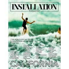 Installation Magazine is the first all digital contemporary art mag! Created by A. Moret, Literary Director, and Field Sells, Creative Director of California-based Installation Media, the quarterly Installation Magazine brings you emerging and established art from artists working in a variety of mediums.