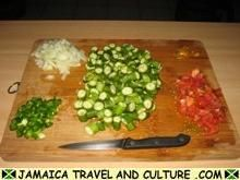 Okra and Saltfish - Chopping the ingredients