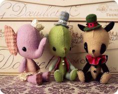 Circus Stufflings  - Elephant, Dog and Bear Gingermelon.etsy