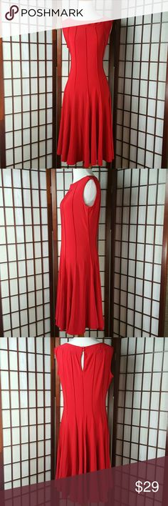 """Red HAANI Sleeveless A Line Dress Size PL Pre-owned gently worn  HAANI SIZE PL red color Sleeveless sleeve style  A line dress Made of polyester and spandex   Measurements approximate  Pit to pit 19"""" Shoulder to hem 39"""" Waist 32"""" HAANI Dresses"""