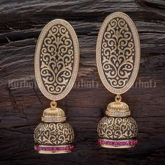 Designer zircon earrings studded with synthetic cz stone and plated with gold polish Indian Jewelry Earrings, Fancy Jewellery, Jhumki Earrings, Jewelry Design Earrings, Gold Earrings Designs, Gold Jewellery Design, Stylish Jewelry, Modern Jewelry, Gold Jewelry