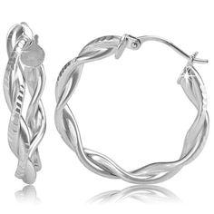 $14.99 - 25MM Twisted Detail Sterling Silver Hoop Earrings