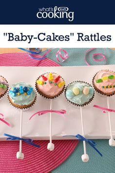 """Dress up the dessert table at your next baby shower with these cute and delicious cupcakes. Tap or click photo for this easy """"Baby-Cakes"""" Rattles Baby Shower Cupcakes, Baby Boy Shower, Baby Showers, Cool Whip, Tapas, Cupcake Cakes, Baby Cakes, Chocolate Bonbon, Party Catering"""