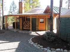 Demolish the trailer and replace with a yurt! Yurt Living, Tiny House Living, Yurt Interior, Yurt Home, Cabins And Cottages, Earthship, Round House, My Dream Home, The Great Outdoors