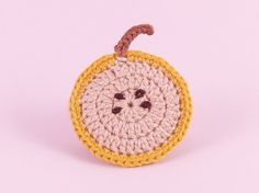 'Yellow Apple' crochet and felt-backed brooch by Tom West of Teapot Magpie, available to order from the Teapot Magpie Etsy shop