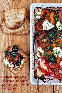 "Grilled Apricot, Cherry, Thyme, and Ricotta Tapas Spread.....APPETIZER RECIPES FOR YOUR NEXT PARTY!!.... one of the tapas recipes in my latest ""Wanderlust Food Diaries"" article, ""Baila Me"" (Dance with Me), In Granada, Spain...and a quick note on how to make healthy appetizers"