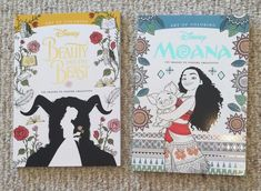 Lot Of 2 Brand New High Quality Disneythemed Adult Coloring Books. 1 Beauty & The Beast themed with Belle, Beast, other characters, roses, books, etc. layed out with intricate floral, geometric and paisley patterned themed pages, and 1 Moana themed with Moana, Chief Tui, other characters, flowers, stars, sea, etc. layed out with intricate floral, tribal/geometric and paisley patterned themed pages. These books are a bit heavier than the average similar product.