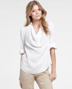 $68.00 - Petite Drape Neck Roll Sleeve Blouse