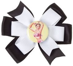LITTLE LILY PINUP HAIR BOW BLK/WHT $7.00 #hair #hairaccessories #hairbow #bow #pinup