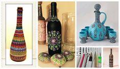 Aprende cómo decorar botellas con la técnica del puntillismo ~ Mimundomanual Mandala Painting, Dot Painting, Stone Painting, Mandala Dots, Pottery Painting, Recycled Crafts, Bottle Art, Homemade Gifts, Glass Bottles