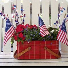 Old metal picnic basket for the 4th of July