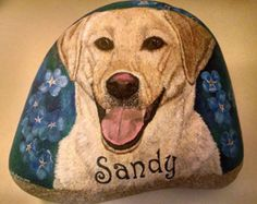 Etsy Pet Portraits, Custom Hand Painted Rock Stone, Custom Yellow Lab Labrador Painting, Dog Memorial Stone Art, Garden Grave Stone, Cobbled