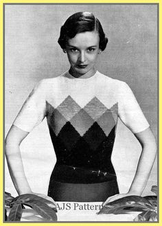 PDF Knitting pattern for a 1940's Jumper & por TheKnittingSheep