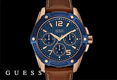 Be spot on trend with this brown leather watch with it's rose gold and blue bezel from Guess. Pink And Gold, Rose Gold, Brown Leather Watch, Chronograph, Watches, American, Blue, Accessories, Wristwatches