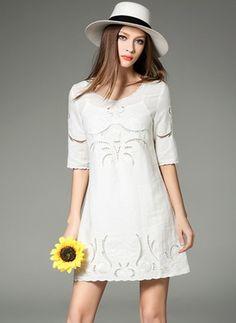 34db15b2cbfc White Cotton Dress Sky Blue White Cotton Solid Half Sleeve Above Knee  Dresses