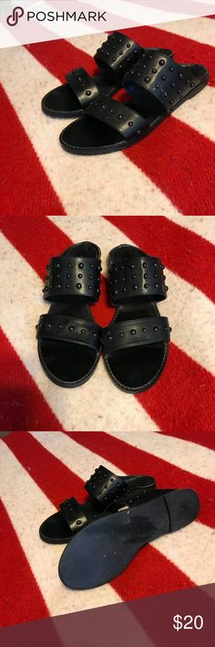 Studded black sandals From urban outfitters! Slip-ons with studded detail Urban Outfitters Shoes Sandals