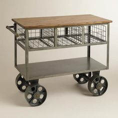 Reminiscent of old vintage factory carts, our beautifully industrial Bryant Mobile Kitchen Cart is perfect for keeping kitchen essentials within reach. With large wheels so you can move it wherever you need it most, this handy kitchen cart features three Kitchen Carts On Wheels, Kitchen Trolley Cart, Bar Carts, Kitchen Furniture, Kitchen Dining, Furniture Cleaning, Modular Furniture, Furniture Removal, Space Furniture