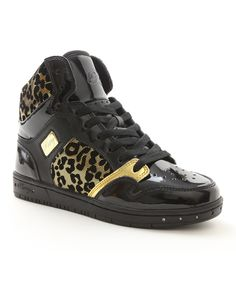 Look what I found on #zulily! Black & Gold Cheetah Glam Pie Animal Hi-Top Sneaker by Pastry #zulilyfinds