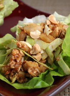 Sweet and Spicy Chicken Lettuce Wraps {light and healthy dinner #recipe)