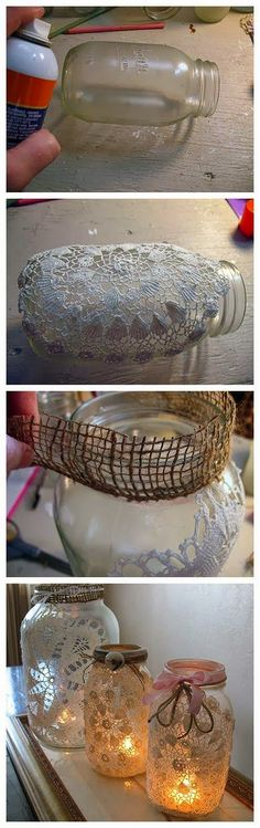 DIY Lanterns: DIY Burlap and Doily Luminaries. For all my extra mason jars and doilies. Holiday Crafts, Home Crafts, Fun Crafts, Holiday Decor, Mason Jar Projects, Mason Jar Crafts, Diy Crafts Vases, Burlap Crafts, Pot Mason Diy